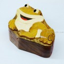 Hand Carved Wood Art Intarsia Frog Puzzle Jewelry Trinket Box Home Decor 01