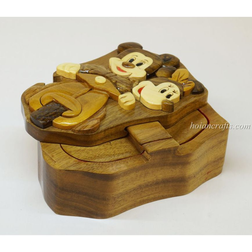 Intarsia wooden puzzle boxes 45a
