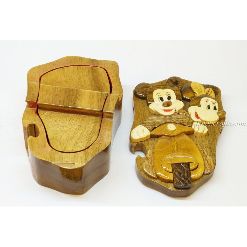 Hand Carved Wood Art Intarsia Vespa Mickey Mouse Puzzle Jewelry